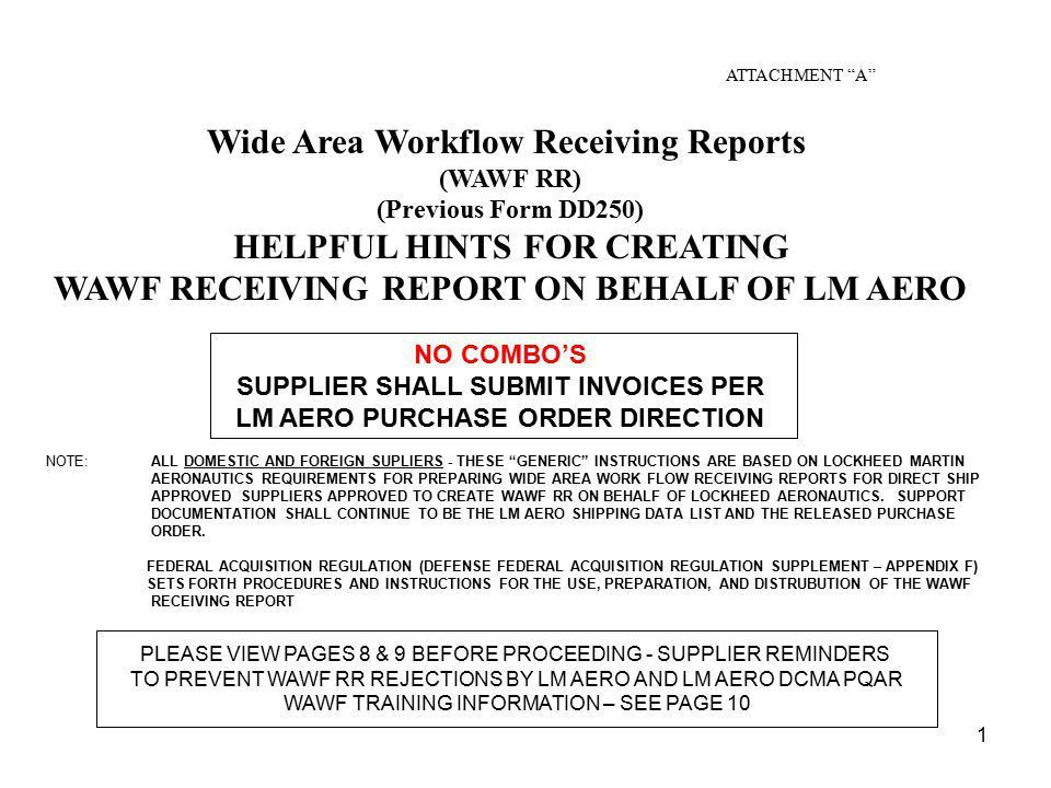 Wide Area Workflow Receiving Reports - ppt download