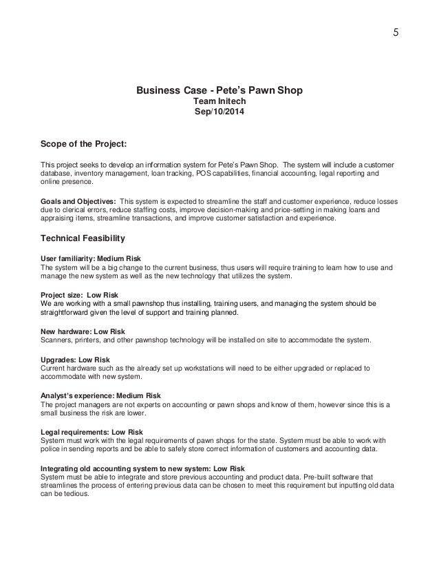 Systems Proposal for Pete's Pawn Shop Nicholas Jones