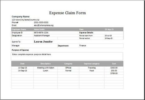 Awesome Expenseu0027 In Collection Of Microsoft Word U0026 Excel Templates ...  Expense Claim Template
