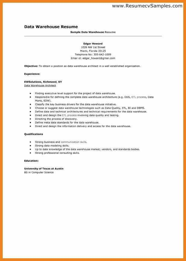 Data Warehouse Architect Resume Sample - Contegri.com