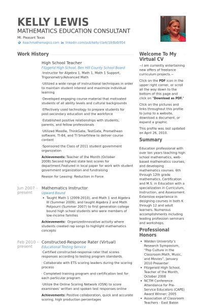 High School Resume samples - VisualCV resume samples database