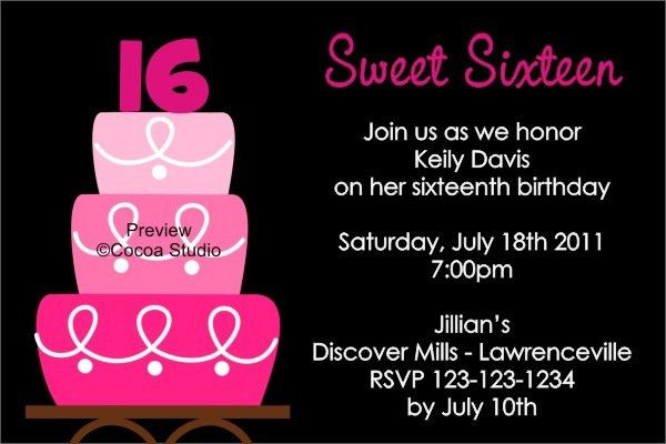 16Th Birthday Invitations | Card Invitation Templates