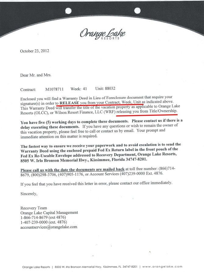 Orange Lake Resorts Timeshare Cancellation - Get out of your ...