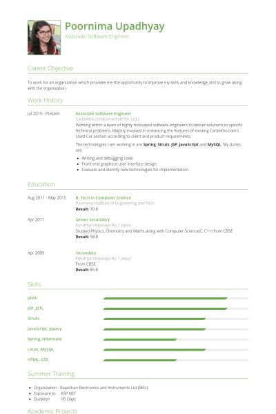 Associate Software Engineer Resume samples - VisualCV resume ...