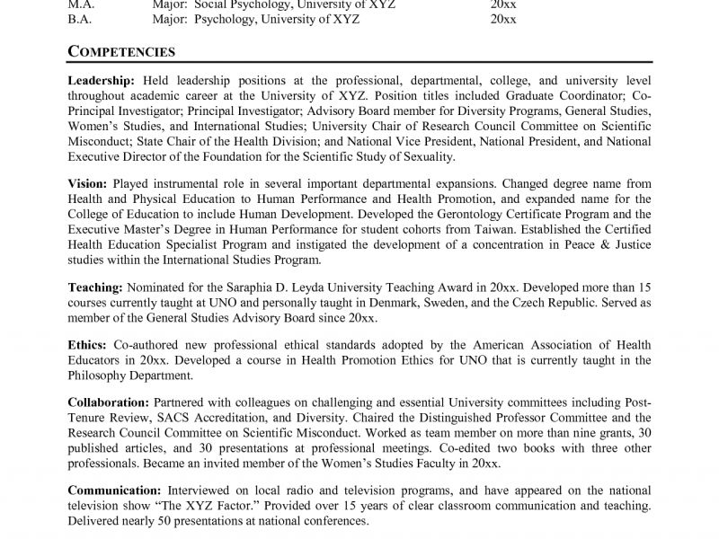 Good Resume For College Professor - Contegri.com