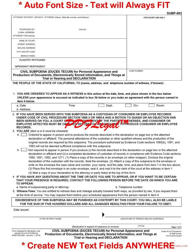 Civil Summons Form] Summonsresponsecom Blog Civil Court Summons ...