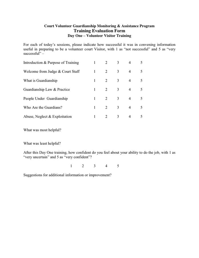 Doc.#600630: On the Job Training Evaluation Form – 19 Sample ...