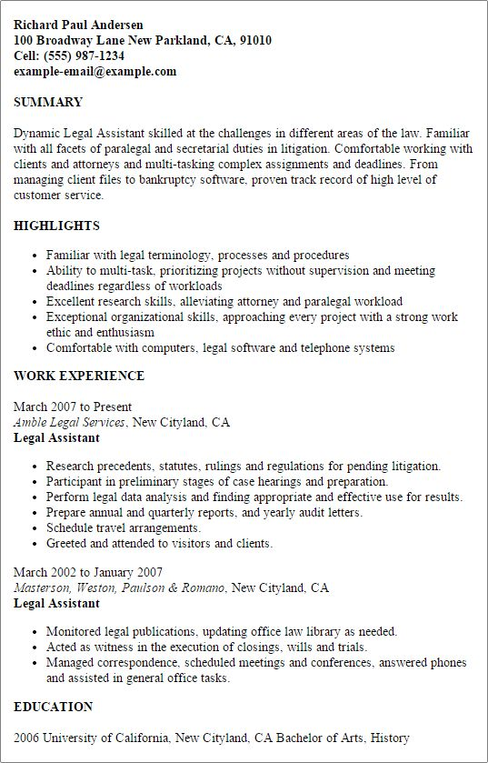 Professional Legal Assistant Templates to Showcase Your Talent ...