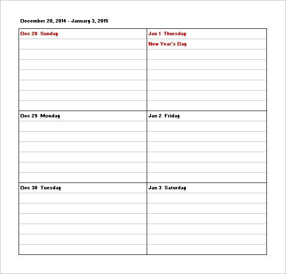 Weekly Calendar Template. Printable Weekly Calendar Template Tim ...