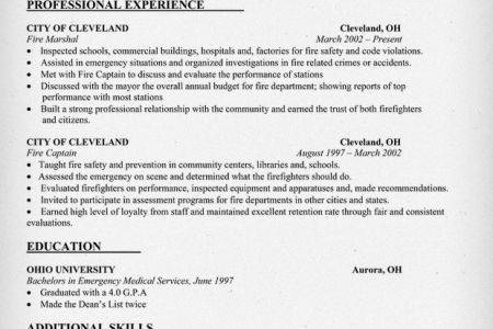 Fire Chief Resume Template - Reentrycorps