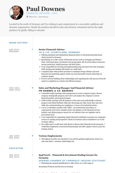 Financial Advisor Resume samples - VisualCV resume samples database