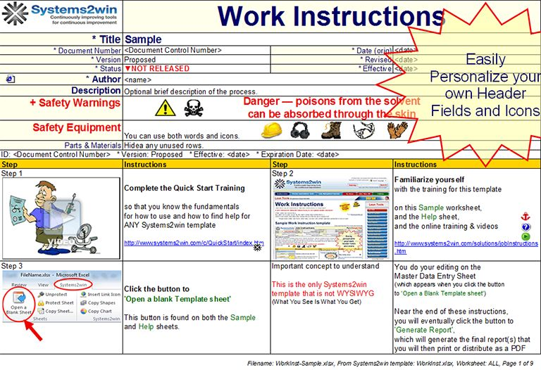 Work Instructions - work instruction template
