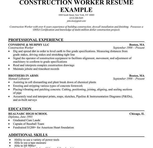 Construction Worker Resume. resume construction worker resume ...