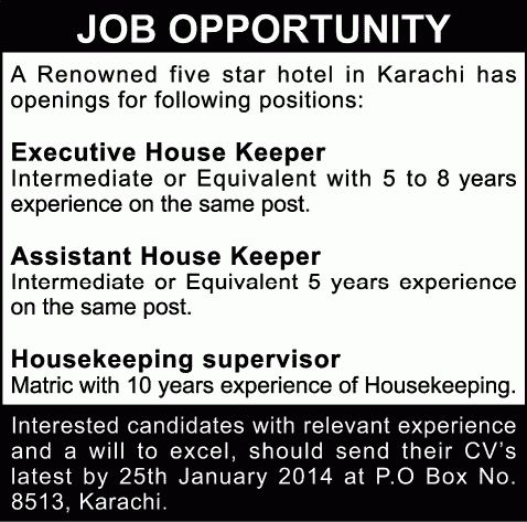Assistant / Executive House Keeper & Housekeeping Supervisor Jobs ...