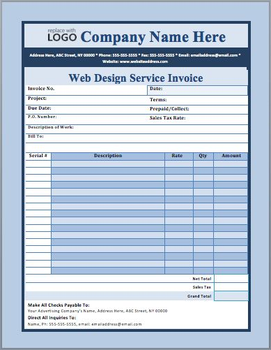 Web Design Service Invoice Template | Free Invoice Templates