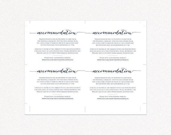 Accommodation Card Insert Wedding Information Card Template