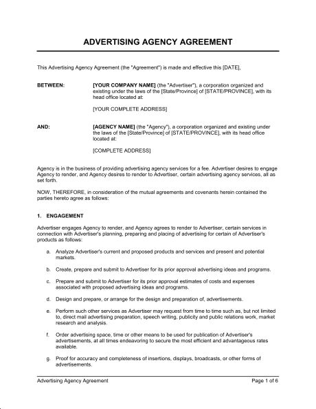 Advertising Agency Agreement - Template & Sample Form | Biztree.com