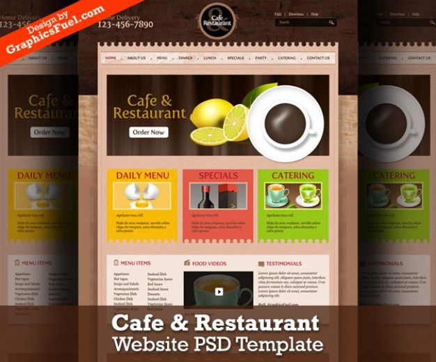 Cafe & restaurant website psd template PSD file | Free Download