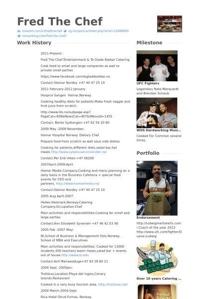 Chef CV Örneği - VisualCV Özgeçmiş Örnekleri Veritabanı