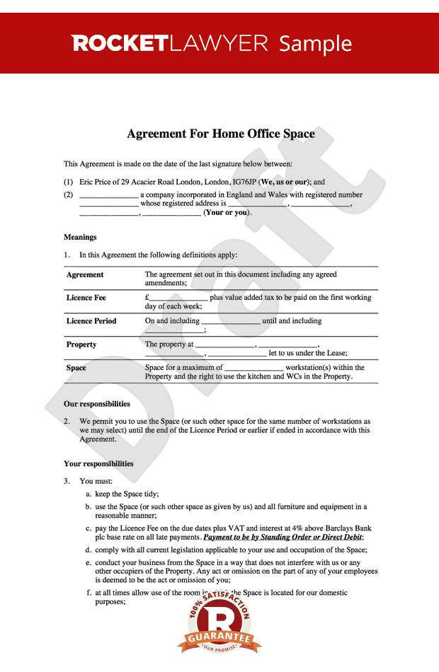 Office Lease - Home Office Rental Agreement Template