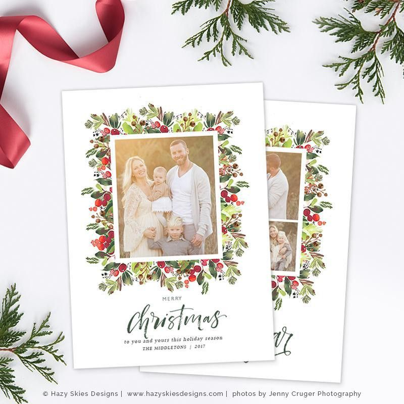 Christmas Card Template Christmas Card Printable Photo Card HC312 ...