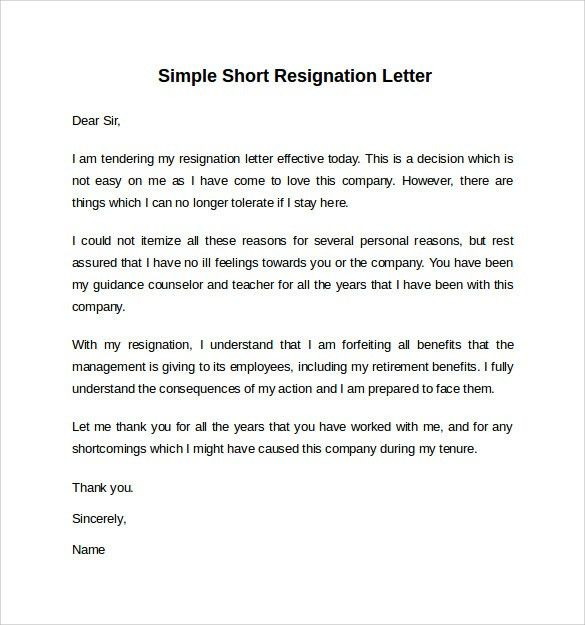 Resignation Letter No Notice