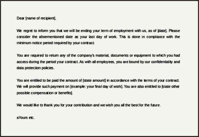 termination notice format free meeting agenda template termination ...