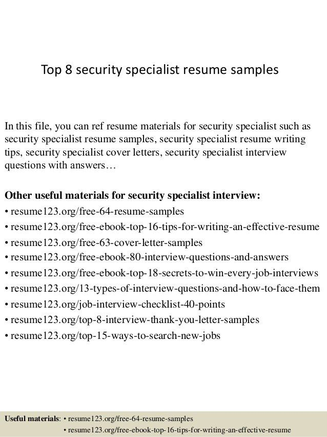Security Specialist Resume Sample - Gallery Creawizard.com