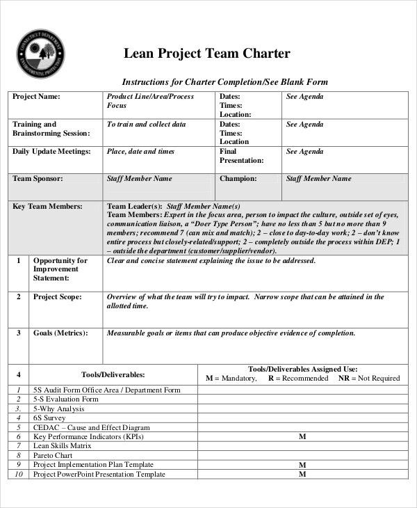 8+ Project Charter Templates - Free Sample, Example, Format ...