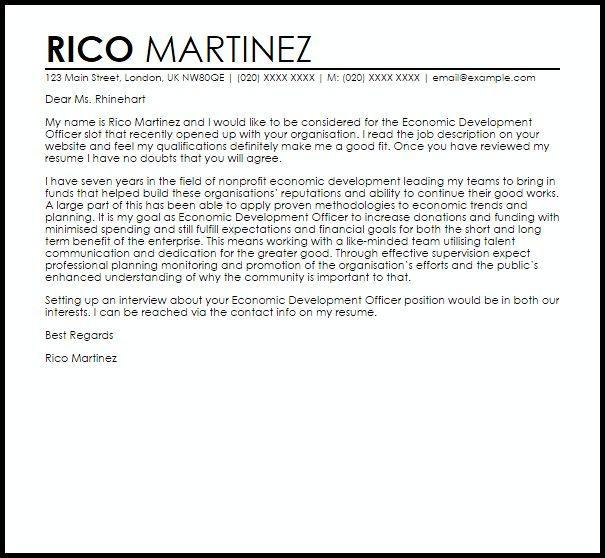 Economic Development Officer Cover Letter Sample | LiveCareer