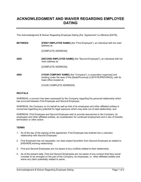 Acknowledgment and Waiver About Employee Dating - Template ...