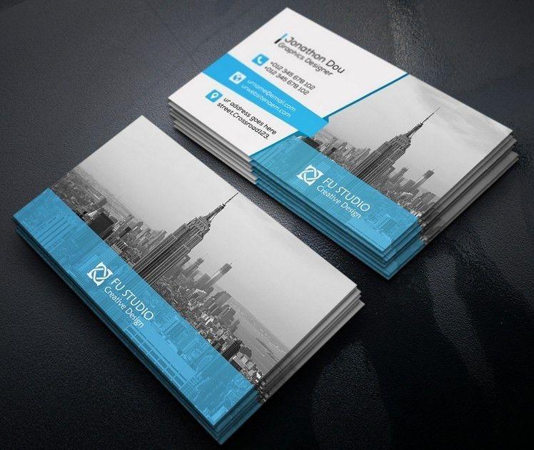 Free Creative Blue & Orange Business Card Templates PSD - TitanUI