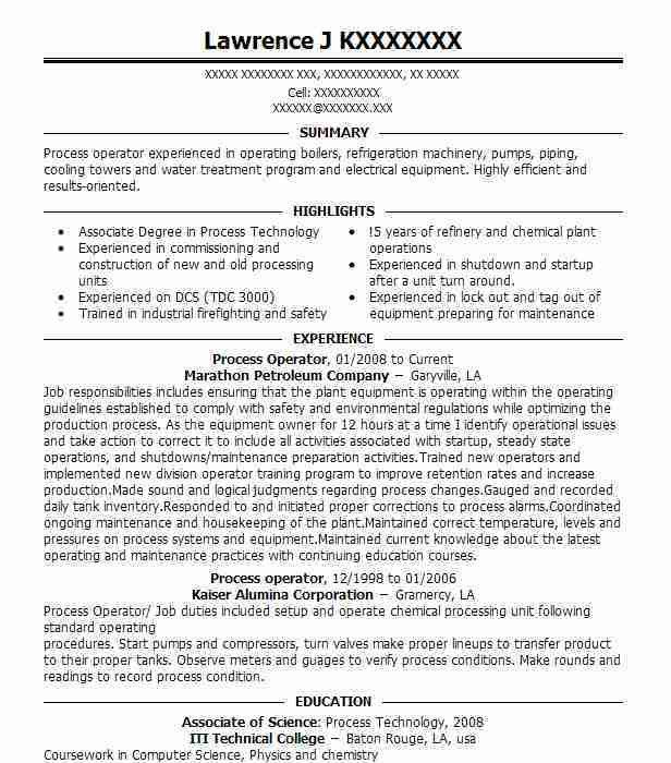 Best Petroleum Operator Resume Example | LiveCareer
