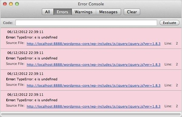 Using Your Browser to Diagnose JavaScript Errors « WordPress Codex