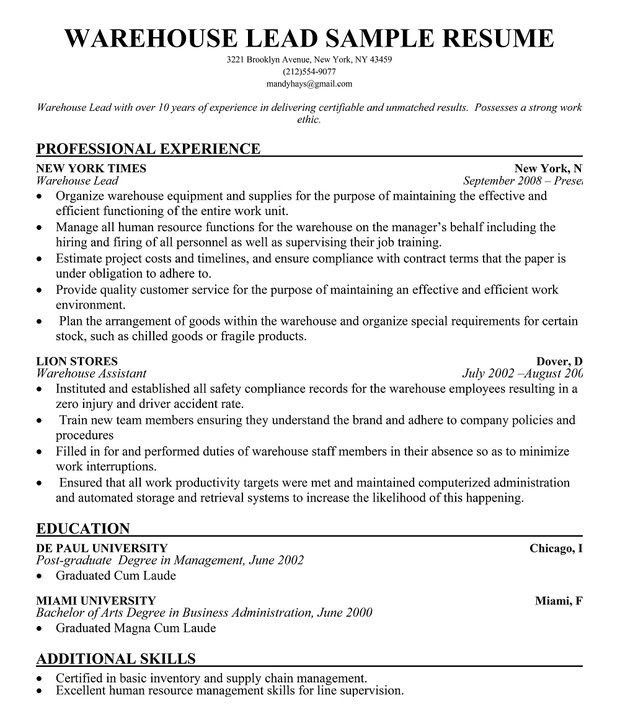 efficient warehouse manager resume professional experience sample ...