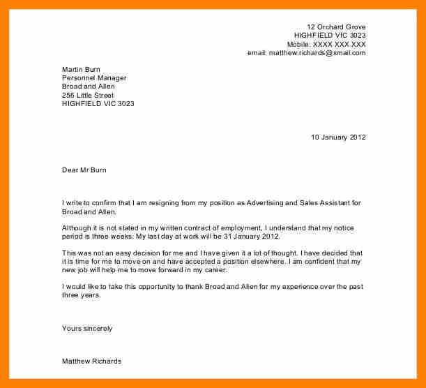 Resignation Letter Sample. Sample Resignation Letter 1 Two Weeks ...
