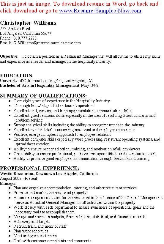 Restaurant Resumes. Restaurant Worker Resume Example We Provide As ...