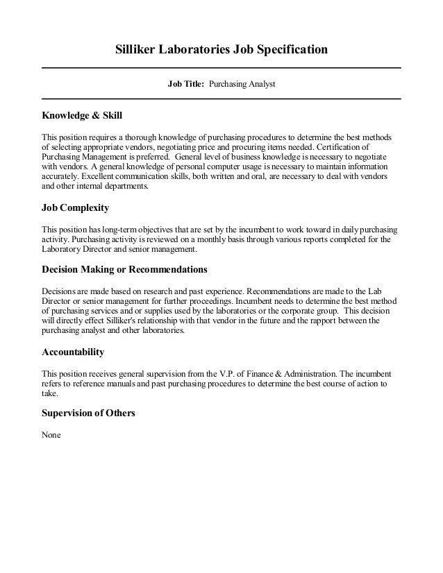 PurchAnlst JOB DESC 1999