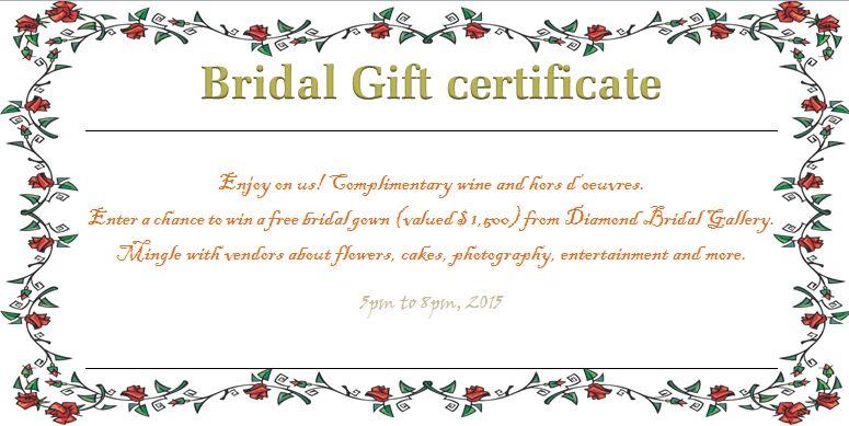 Wreath of Roses Bridal Gift Certificate Template | Beautiful ...
