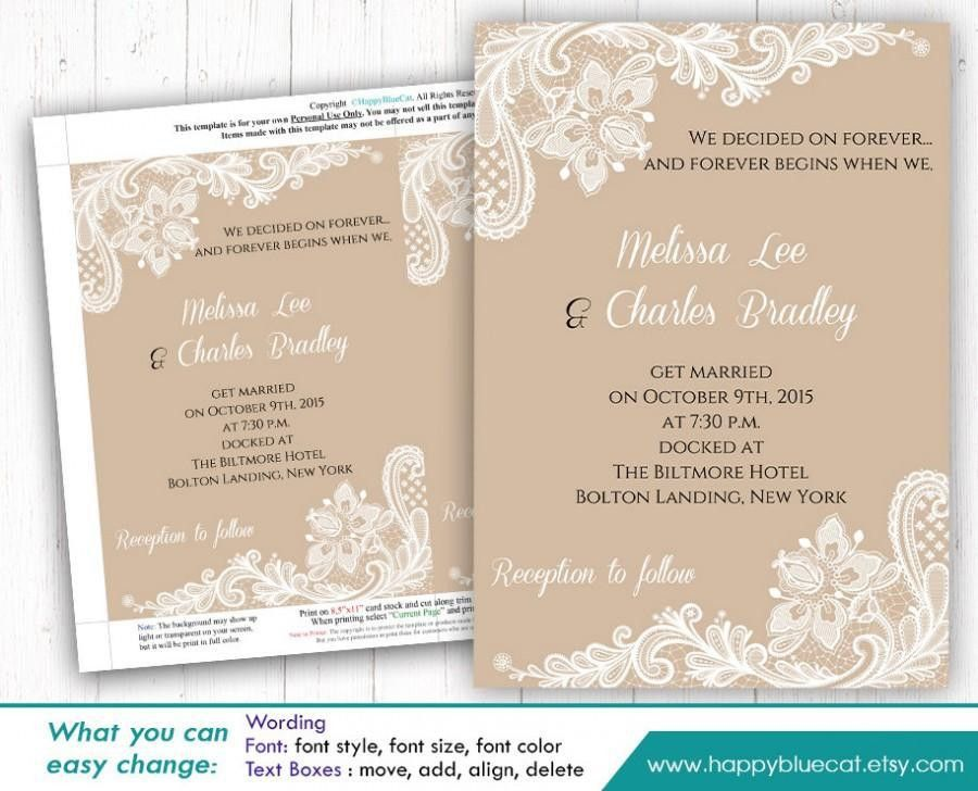 DiY Printable Wedding Invitation Template - Instant Download ...