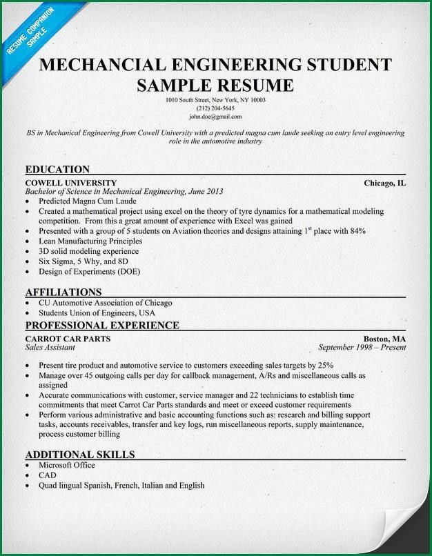 Resume Sample For Ojt Engineering Students. internship resume ...