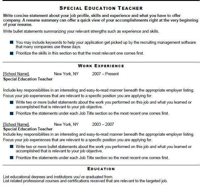 another example of a special education teacher template detailed