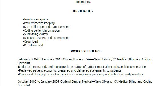 Medical Billing And Coding Resume Summary Medical Billing and ...