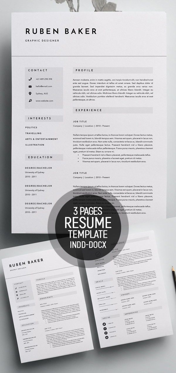 50 Best Minimal Resume Templates | Design | Graphic Design Junction