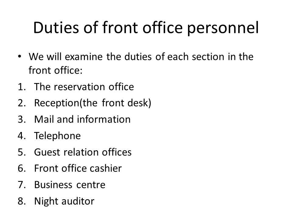 Front office operations - ppt video online download