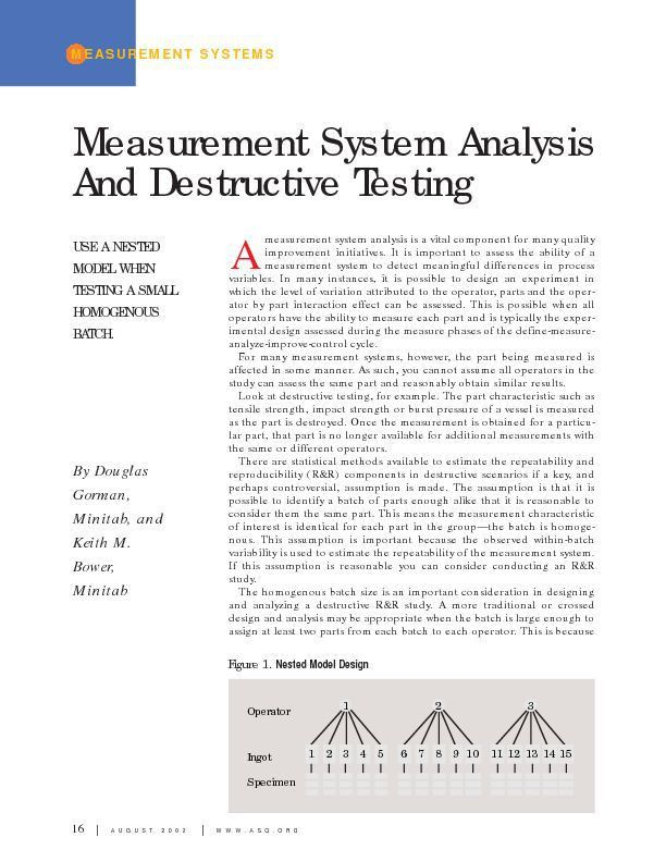 Paper on Measurement System Analysis and Destructive Testing ...