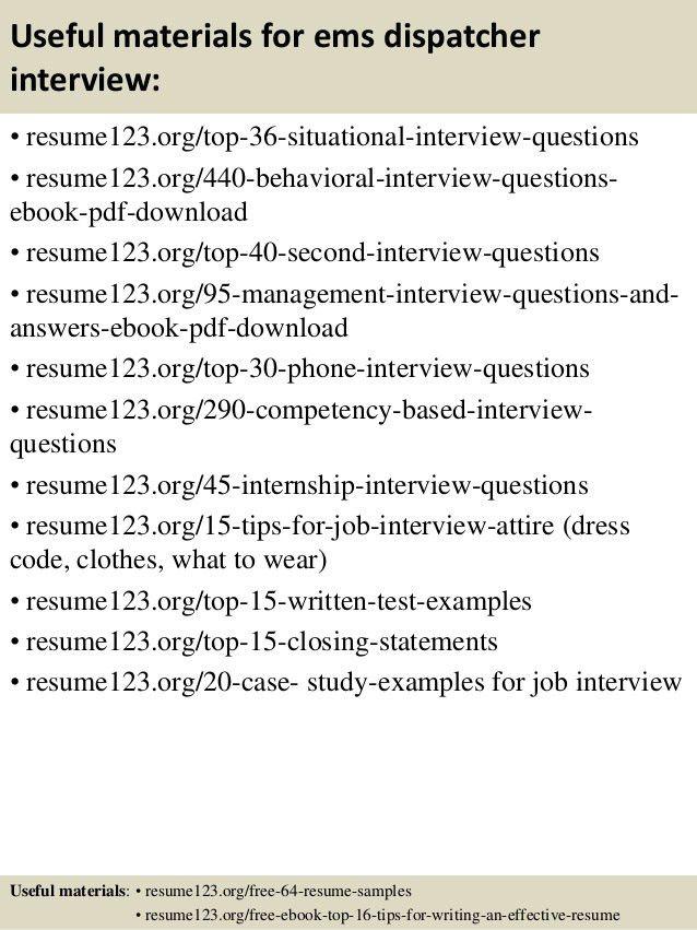 Top 8 ems dispatcher resume samples