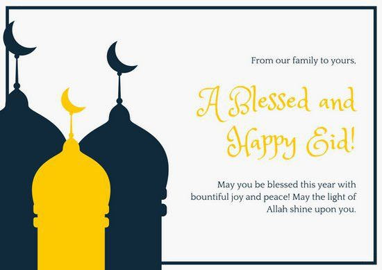 Dark Blue and Yellow Eid Mubarak Card - Templates by Canva