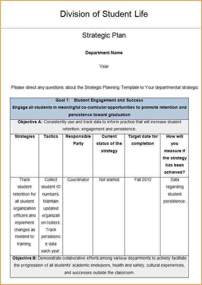 Strategic Plan Template.strategic Planning Template Balanced ...