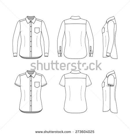 Front, back and side views of women's set. Blank templates of ...